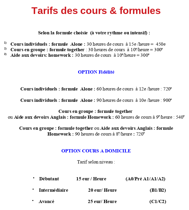Hudandsonevents cours d'anglais tarif