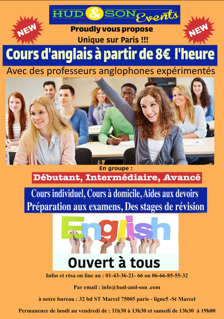 Hudandsonevents cours d'anglais